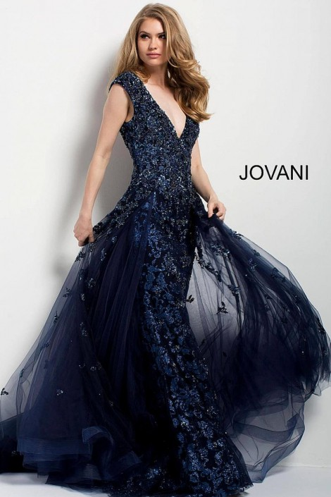 Jovani 42739 Plunging V Neck Beaded Gown: French Novelty