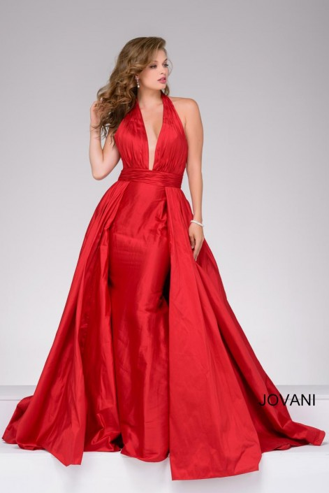 Jovani 42843 Plunging Halter Gown: French Novelty