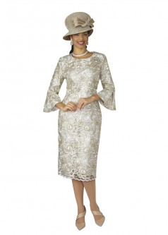 6e29563291e Lily and Taylor 4292 Bell Sleeve Lace Church Dress