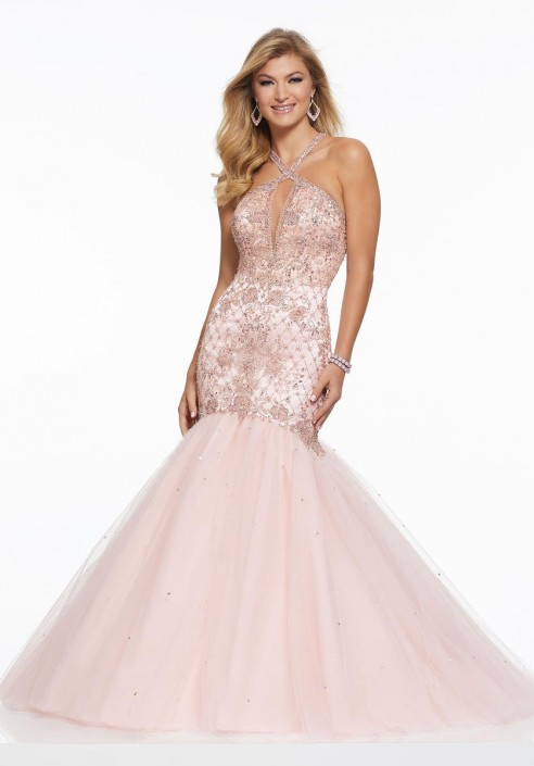 81c0439c57 Morilee 43008 Crystal Beaded Mermaid Gown  French Novelty