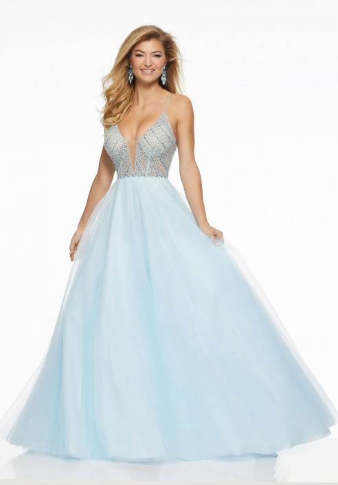 Morilee 43013 Crystal Beaded Prom Gown: French Novelty