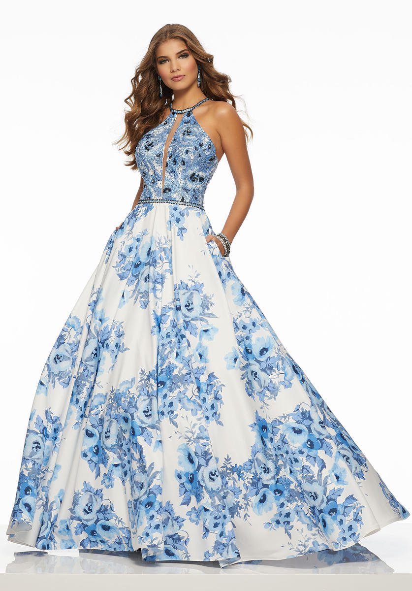 Morilee 43015 Floral Print Prom Gown: French Novelty
