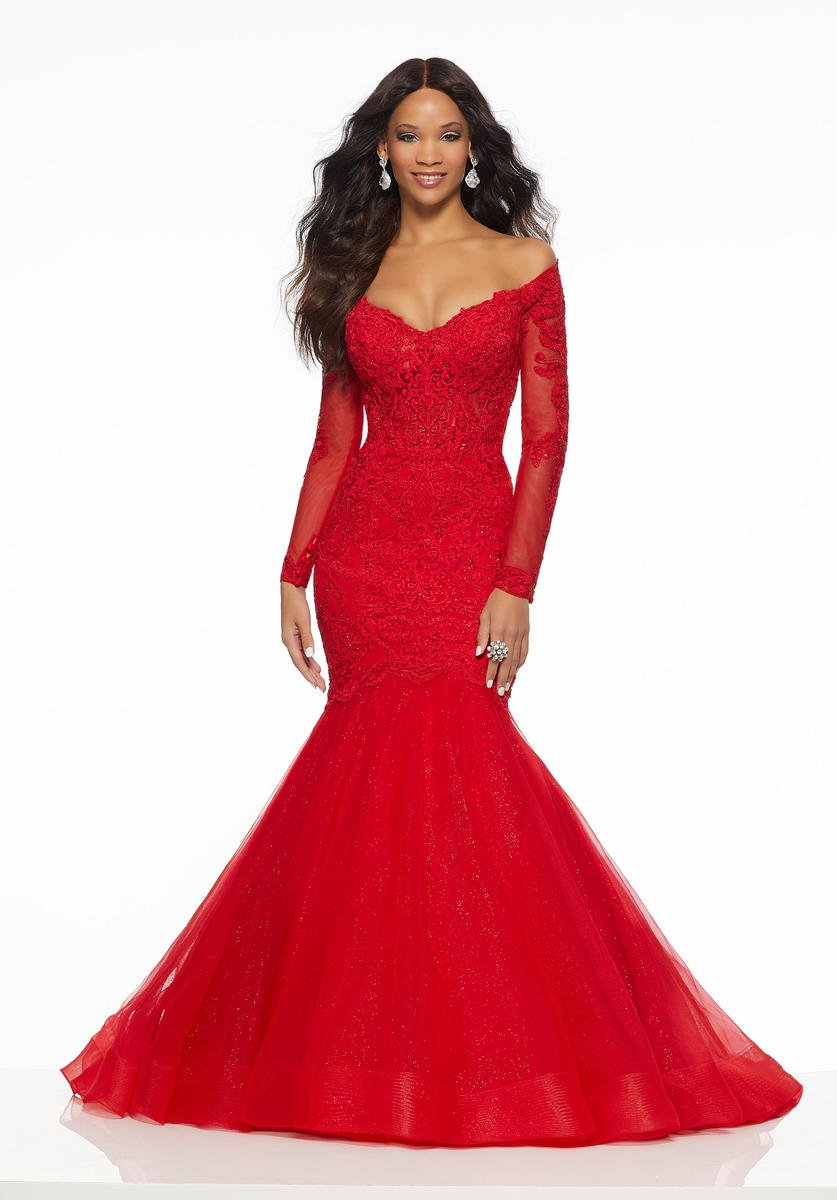 454ea11a7cf84 Red Off The Shoulder Long Sleeve Prom Dress – DACC