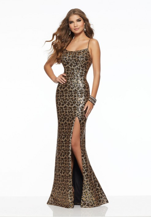 Morilee 43139 Leopard Print Sequin Prom Gown: French Novelty