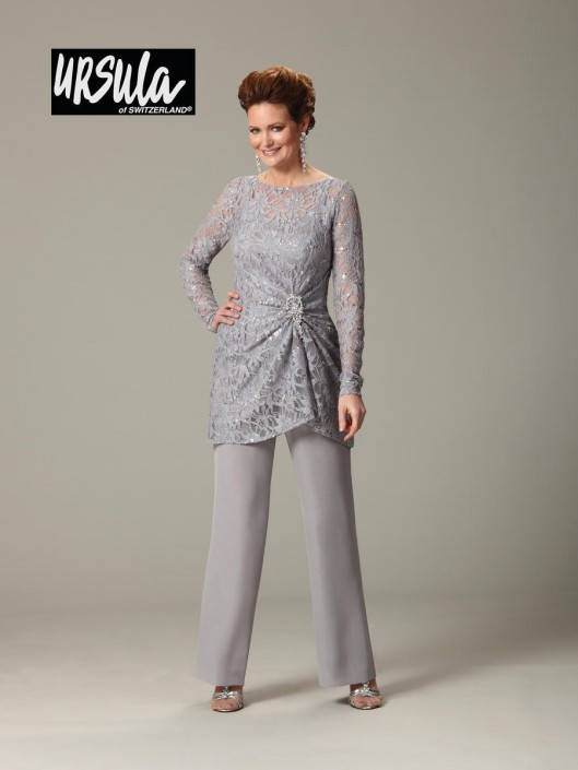 bd4f23a72313 Ursula 43177 Plus Size Lace Mothers Wedding Pant Suit: French Novelty