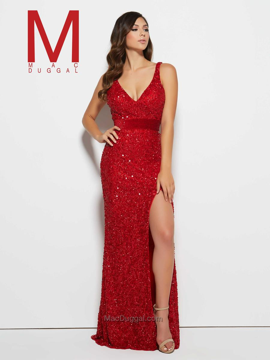 Flash by Mac Duggal 4341L V Neck Sequin Prom Gown: French Novelty