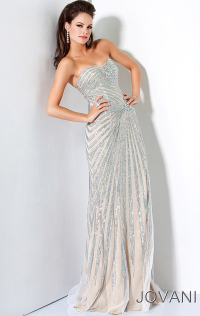 Jovani Long Asymmetrical Fully Beaded Evening Dress 4343: French Novelty