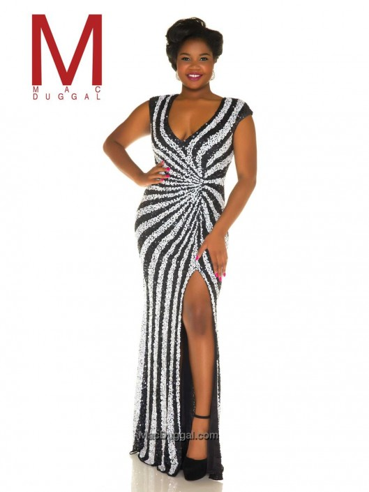 Mac Duggal Fabulouss 4368F Plus Size Stripe Sequin Gown: French Novelty