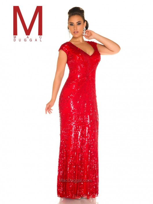 Mac Duggal Fabulouss 4372F Plus Size Sequin Gown: French Novelty