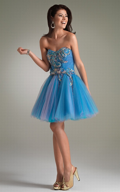 Jasz Turquoise and Fuchsia Tulle Party Dress 4401: French Novelty