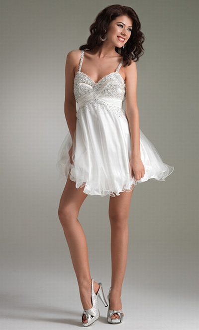 Empire Beaded Spaghetti Straps White And Pink Baby Doll Prom Dresses