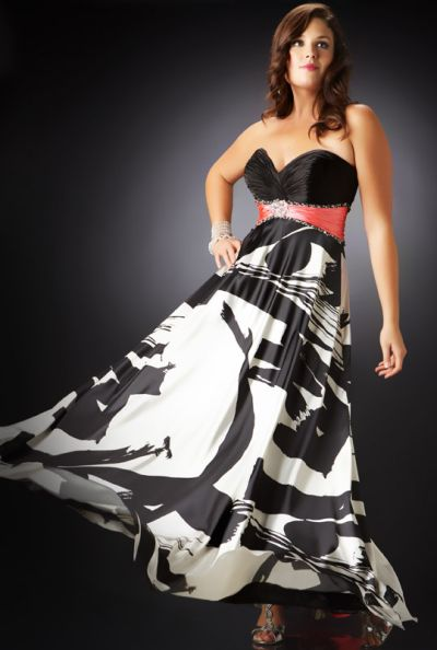 Cassandra Stone Ii Plus Size Black And White Print Prom Dress 4499k