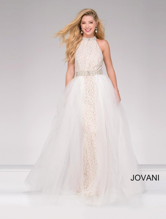cb1a40f389 Jovani 45138 High Neck Lace Prom Dress  French Novelty