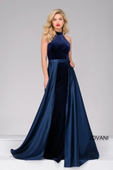 796644feaf Jovani 45182 Velvet Gown with Satin Overskirt