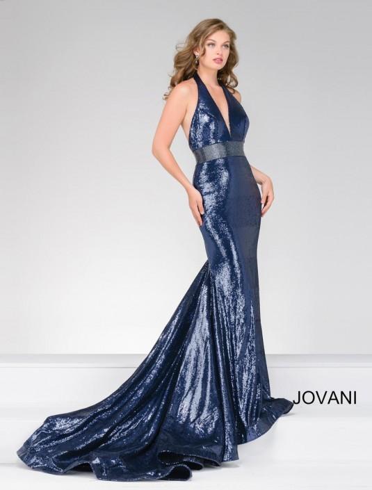 b1a3dd8760eb Jovani 45203 Sequin Halter Prom Dress: French Novelty