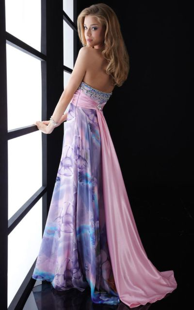 Jasz Multi Color Beaded Long Print Prom Dress 4538: French Novelty
