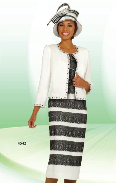 Ben Marc Black And Off White Womens Church Suit 4542