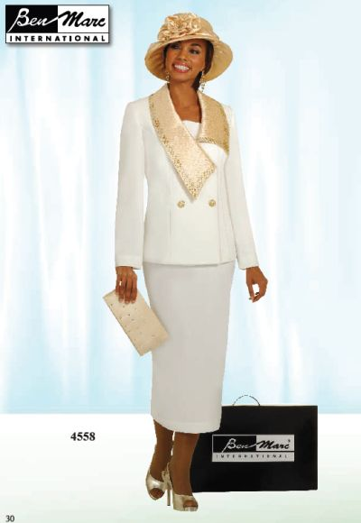 Ben Marc Off White Womens Church Suit With Gold Collar 4558 French