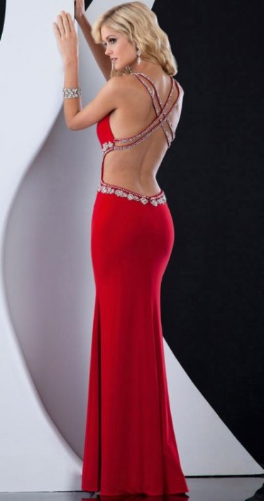 Jasz Prom Dress with Daring Criss Cross Low Back 4577: French Novelty