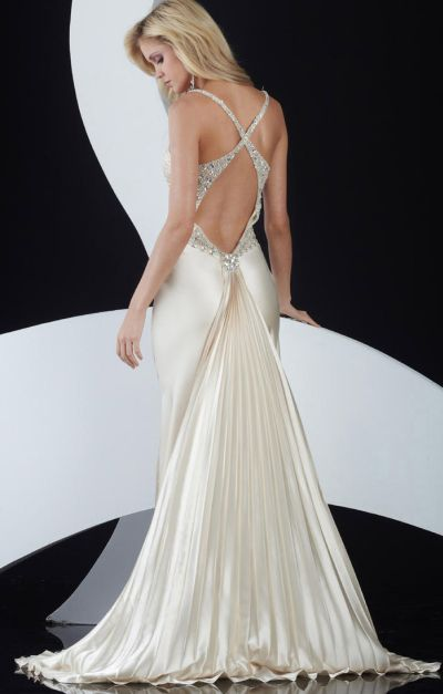 Jasz Elegant Low Back Prom Dress with Pleated Train 4599: French Novelty