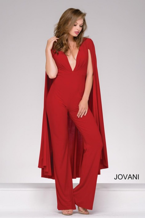 f9b8edf77386 Jovani 46031 Jersey Jumpsuit with Cape: French Novelty