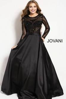 b4741dc035 Jovani 46066 Sheer Long Sleeve Beaded Gown
