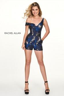 0491963450 Rachel Allan 4679 Short Metallic Print Romper