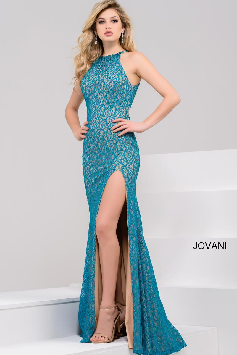 Jovani 46850 Lace Gown with High Slit: French Novelty
