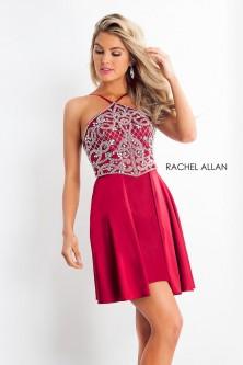 bd75bdbd82 Rachel Allan 4693 Strappy Back Beaded Top Short Dress