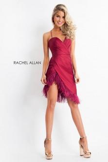 b648ed4aea Rachel Allan 4697 High Low Feather Hem Dress
