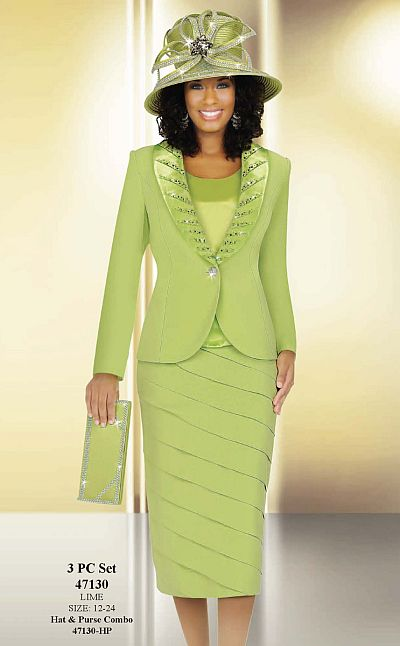 Ben Marc International Womens Lime 3pc Tiered Church Suit 47130