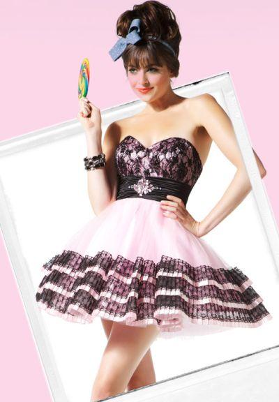 Babydoll By Macduggal Pink Black Lace Satin Short Prom