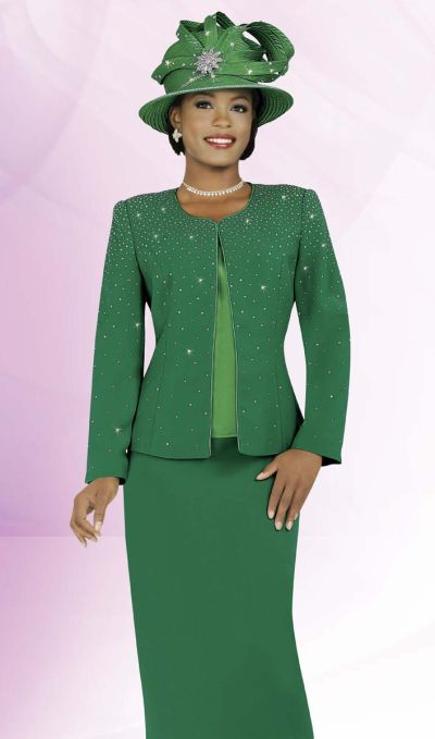 Ben Marc 47215 Intl Womens Kelly Green Church Suit: French Novelty