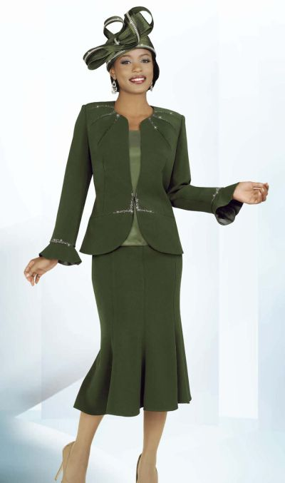 Ben Marc Intl 47220 Ladies Olive Green Church Suit: French Novelty