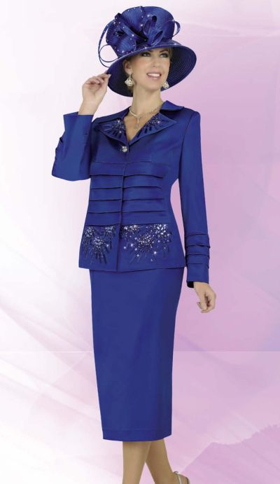 Ben Marc 47224 Intl Womens Sapphire Blue 2pc Church Suit French Novelty