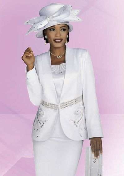Ben Marc Intl 47227 Womens White Church Suit: French Novelty