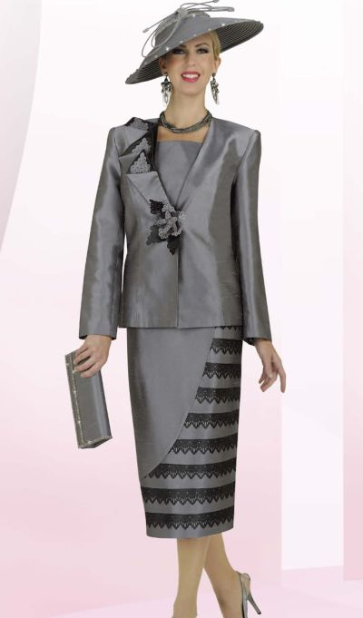 BenMarc Intl 47239 Womens Dark Silver Church Suit: French Novelty
