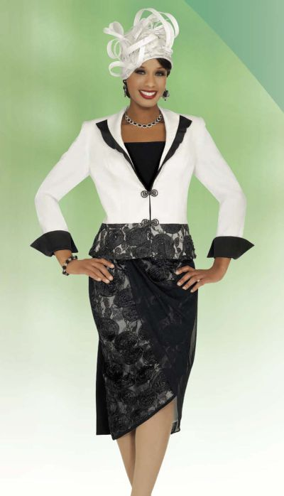 Benmarc 47245 Intl Womens Off White And Black Church Suit