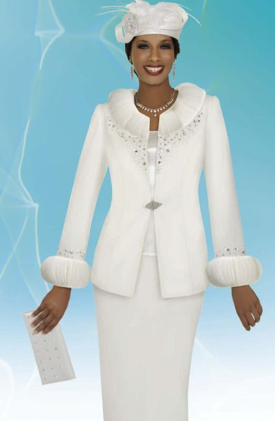 Benmarc Intl 47254 Womens Off White Church Suit With Included Hat