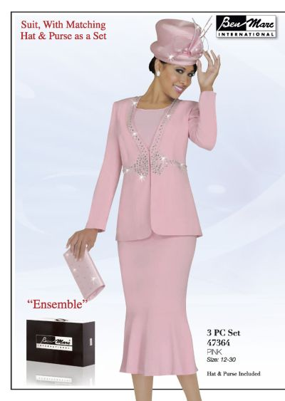 Ben Marc 47364 Womens Pink Church Suit: French Novelty