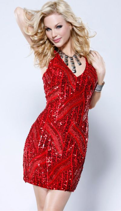 96165d896f0a Scala 47418 Homecoming Red Sequin Cocktail Dress: French Novelty
