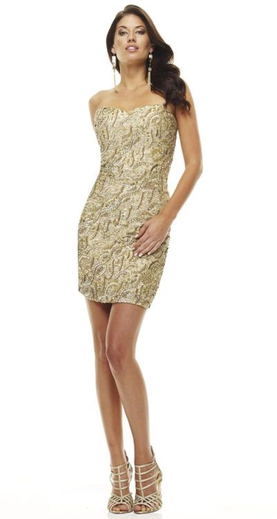 9599adf46f7 Scala 47527 Gold Sequin Cocktail Dress  French Novelty