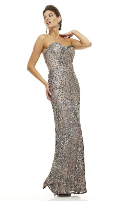 Scala 47538 Lead Strapless Long Sequin Gown: French Novelty