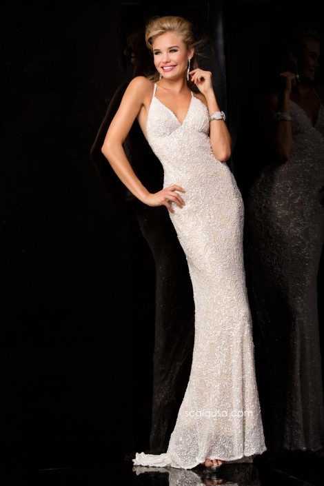 Scala 47542 Long Sequin Dress: French Novelty