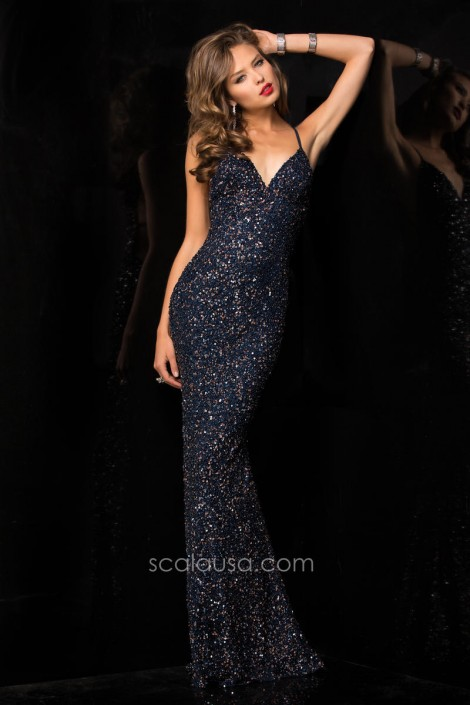 21acb15e71a5 Scala 47551 Spaghetti Strap Sequin Gown: French Novelty