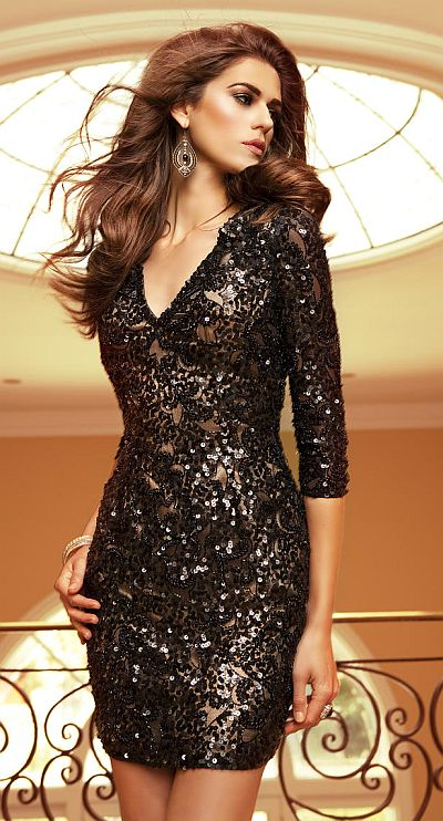 V Neck Sequin Dress