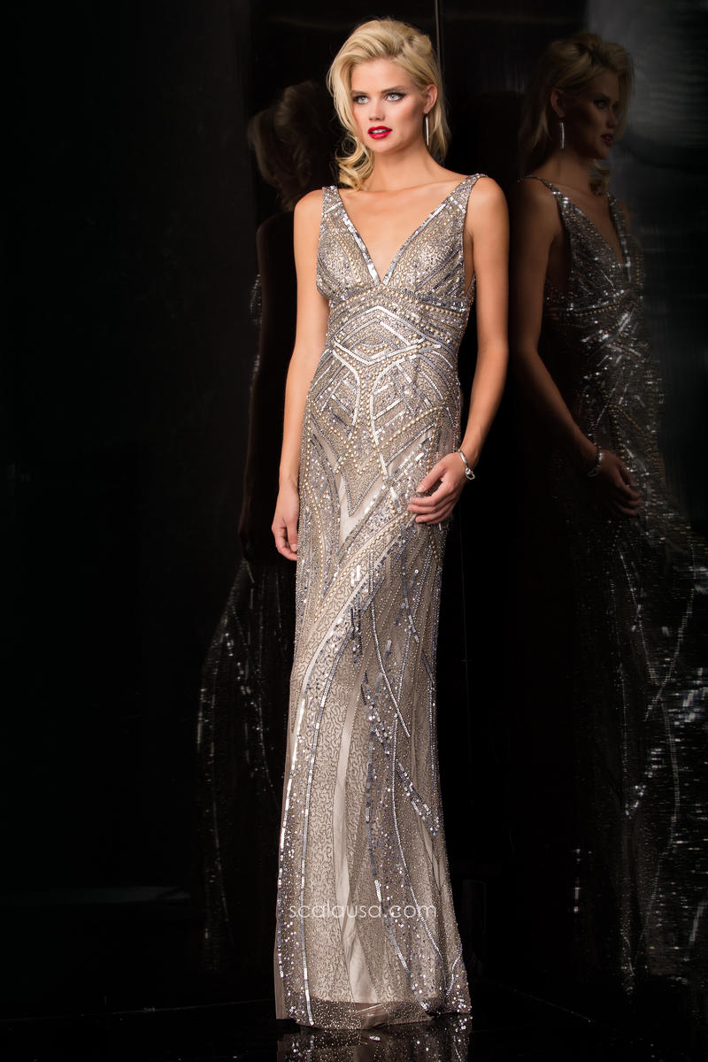 Scala 47680 Long Sequin Prom Dress: French Novelty