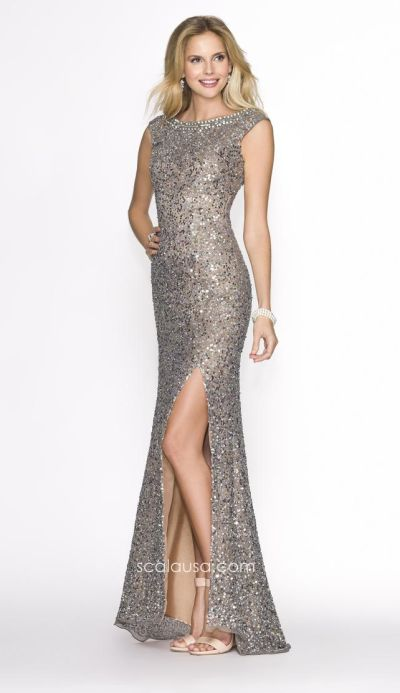 Scala 47681 Cap Sleeve Sequin Gown with V Back: French Novelty