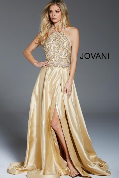 Jovani 47687 Beaded Halter Evening Dress: French Novelty