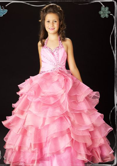 Sugar by MacDuggal Girls Glitter Pink Sequin Pageant Dress 4772S ...
